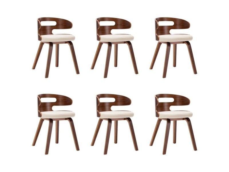 Chaise de salle à manger bois courbé foncé et simili cuir