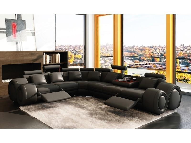 Canapé d'angle cuir noir positions relax oslo (angle gauche)-