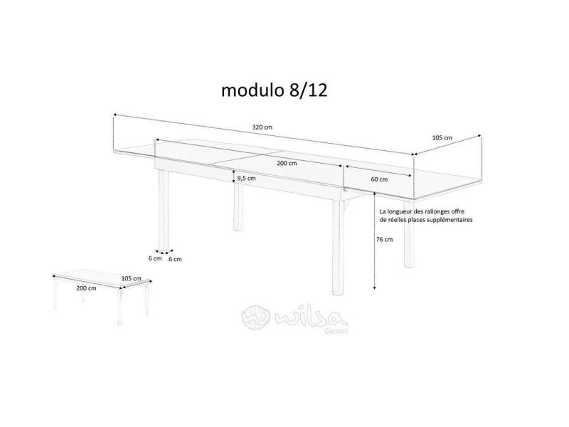 Table jardin full aluminium modulo 200 à 320 cm - Vente de ...