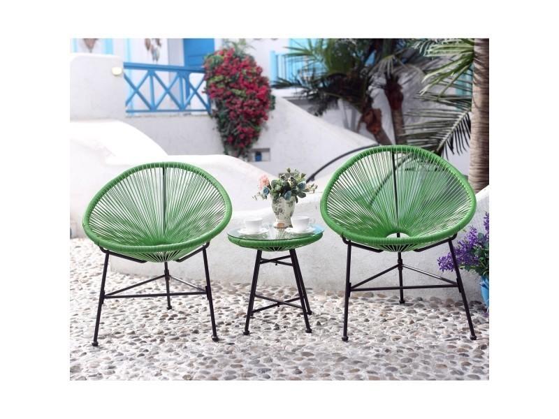 Acapulco : ensemble 2 fauteuils oeuf + table basse vert - Vente de ...