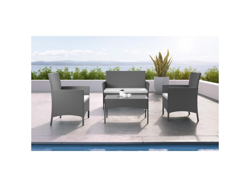 Imora - salon de jardin résine tressée gris/ecru - ensemble 4 places ...