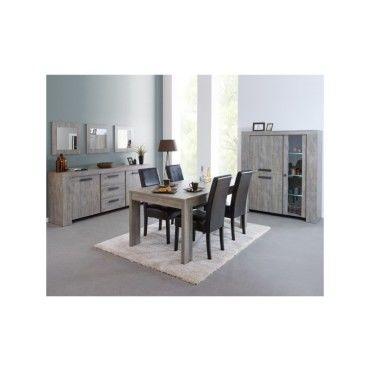 Salle à manger complète gris cendré - jacco - l 160 x l 92 ...
