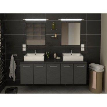 Meuble de salle de bain double vasque 150 cm gris olivia - Meuble vasque salle de bain conforama ...