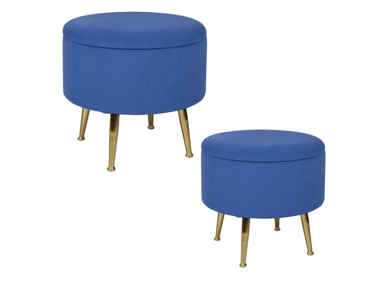 Set de 2 poufs bleus dur sur pieds bibum 40 et 45 cm