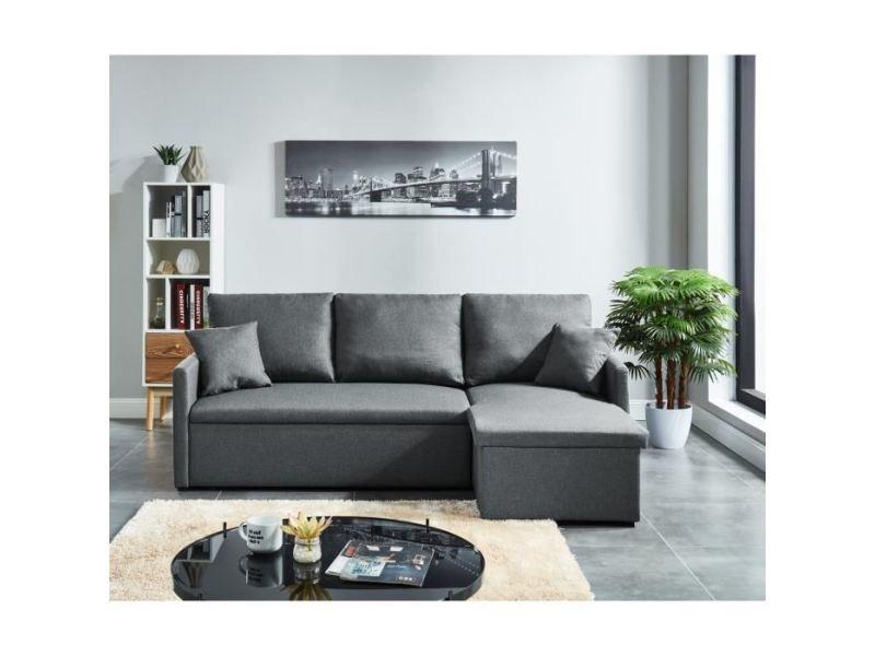 Canape   Sofa   Divan Jim Canapé Du0027angle Droit Convertible 3 Places   Tissu  Gris   Contemporain   L 205 X P 136 Cm