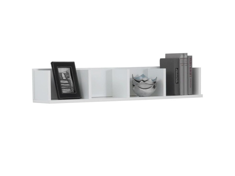 étagère Fmd avec 4 cm blanc compartiments 92x17x16 5 murale wOmv8n0Ny
