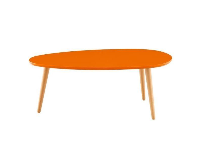 Table basse stone table basse ovale scandinave orange laqué - l 88 x l 48 cm