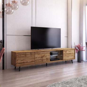 Meuble Tv Galhad 175 Cm Chene Wotan Eclairage Led Vente De Meuble Tv Conforama
