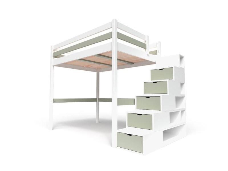 lit mezzanine sylvia avec escalier cube bois 140x200 blanc  moka cube140-lbmo