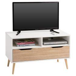 Meuble tv genova banc télé 90 cm style scandinave design vintage avec 1 tiroir et 2 niches, décor blanc mat et chêne sonoma