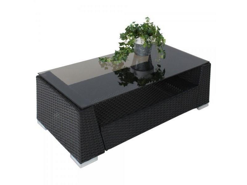 Salon de jardin rotin résine tressé synthétique noir + ...