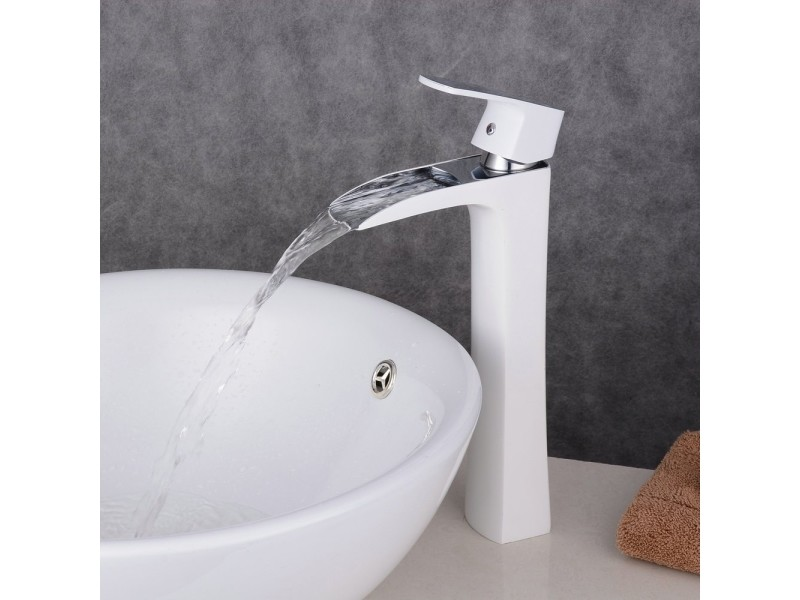 Robinet Cascade Surelevé Blanc Pour Lavabo Salle De Bains Design
