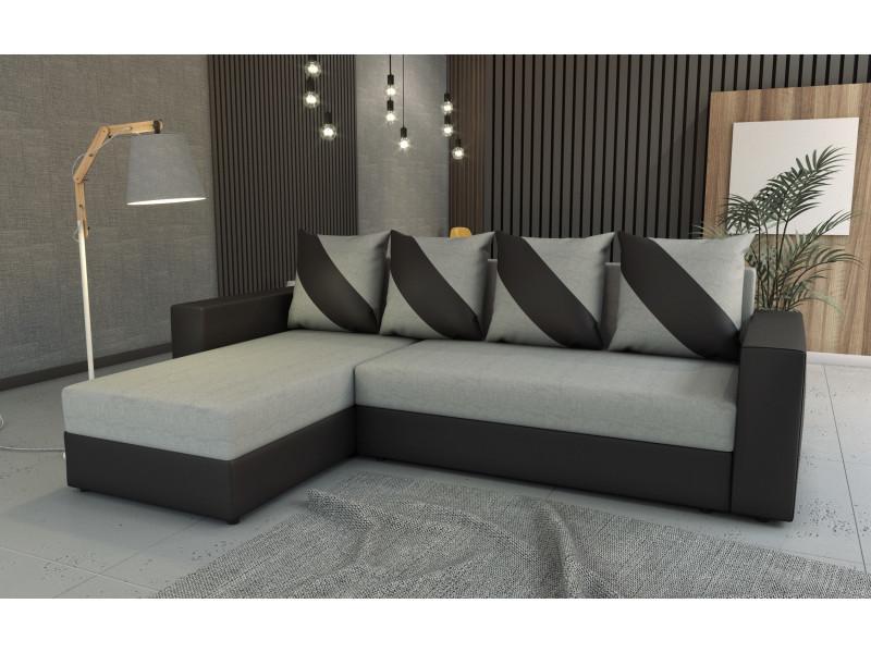 Canapé d'angle convertible huli gris/noir
