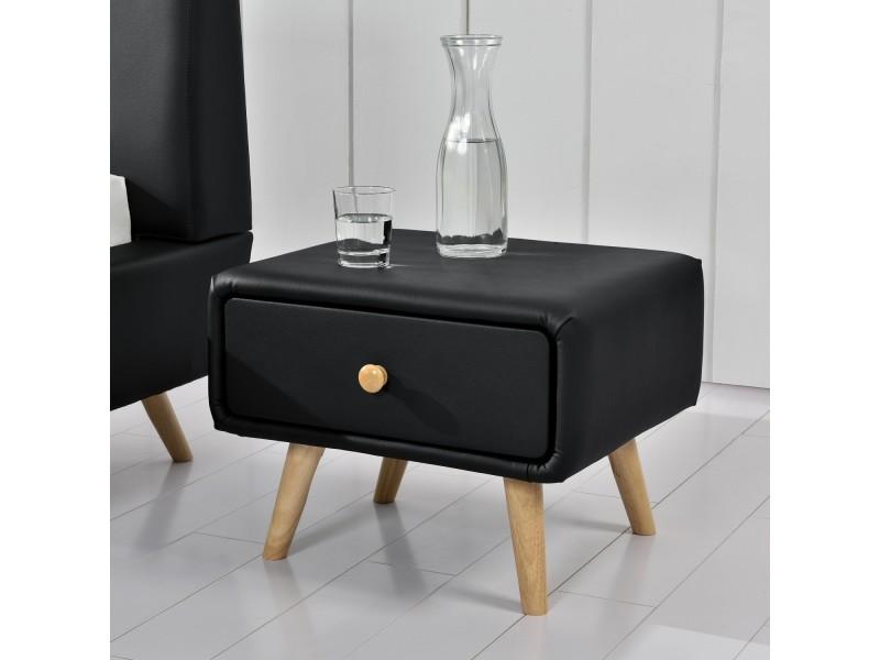 Scandi Noir Table De Chevet Scandinave Noir Avec 1 Tiroir