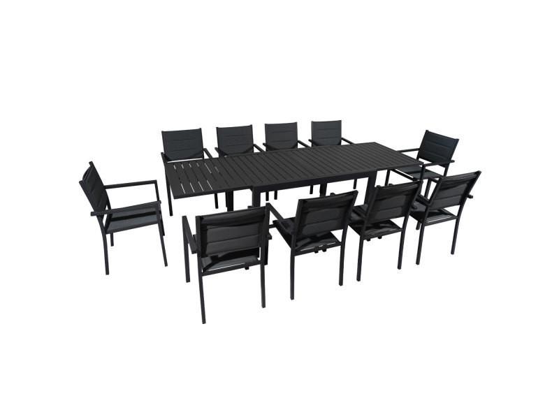 Salon de jardin venezia extensible en textilène gris 10 ...