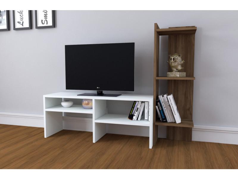 Meuble tv design emir motif bois noyer marron clair