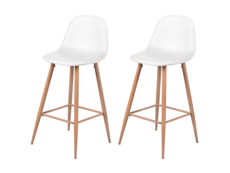 chaise de bar rodrik blanche lot de 2 vente de bar et. Black Bedroom Furniture Sets. Home Design Ideas