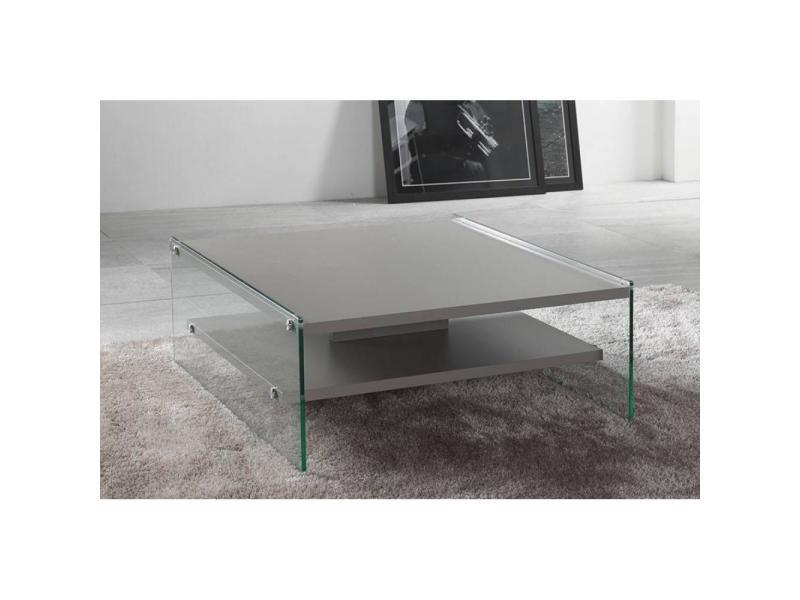 Table basse bella 2 plateaux gris piétement en verre 20100847202