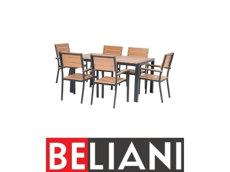 Ensemble de jardin table et chaises aluminium et plastique marron ...