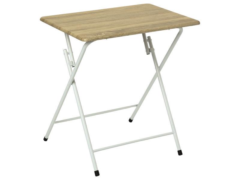 Table pliante grand modèle en bois, pieds en métal -pegane-
