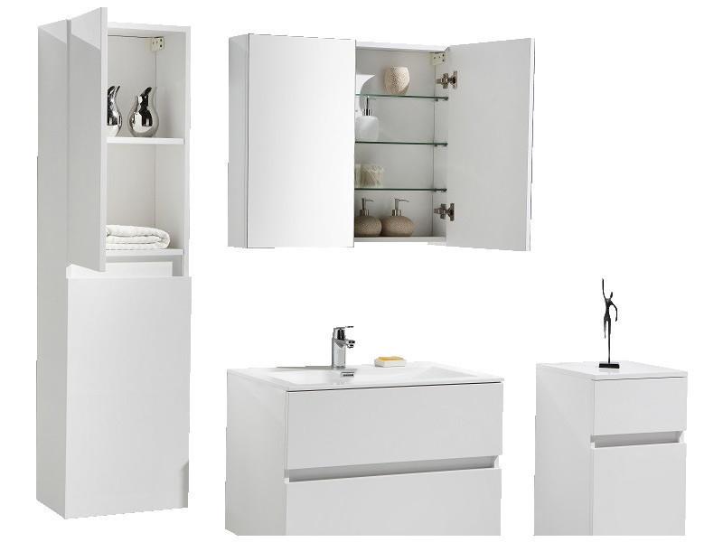 Armoire de toilette bloc miroir siena largeur 80 cm blanc - Miroir salle de bain conforama ...