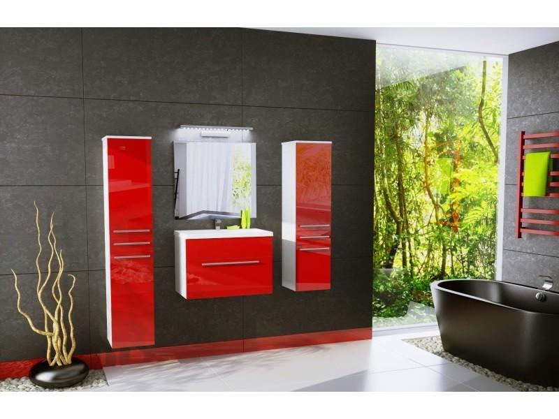 Salle de bain aquatic - 4 éléments -rouge laqué et blanc mat ...
