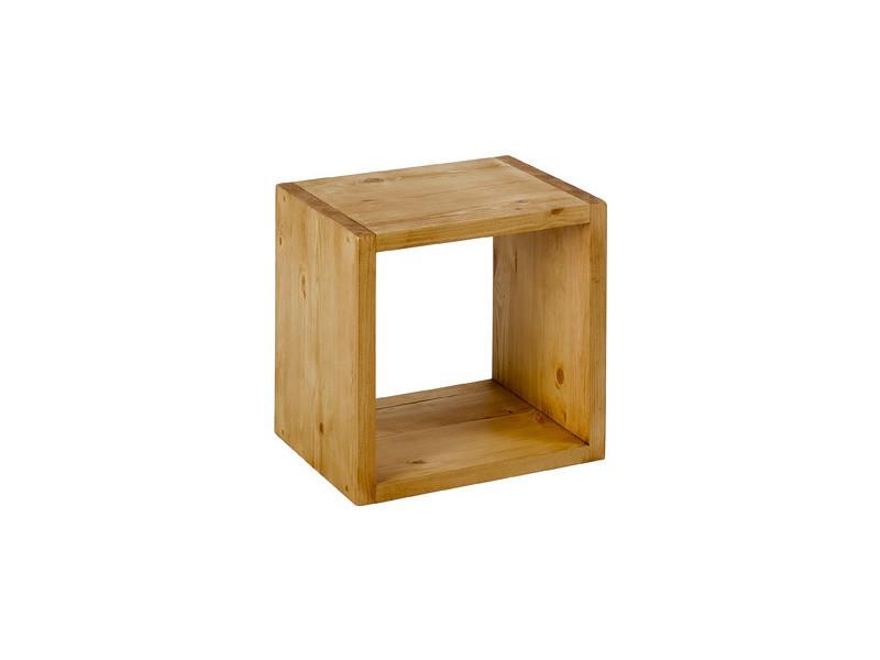 Cube de rangement 1 niche en pin massif ciré - miel - /miel COL-CUBE1