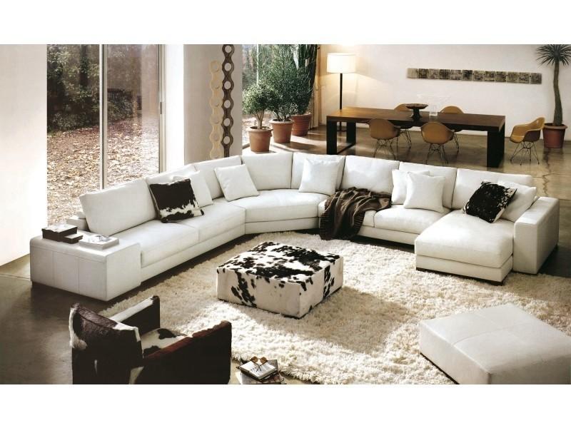 Canapé d'angle panoramique cuir blanc dreams-