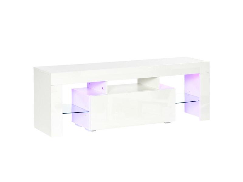 Meuble tv led style contemporain - grand tiroir, niche, 2 étagères verre - panneaux particules mdf blanc laqué