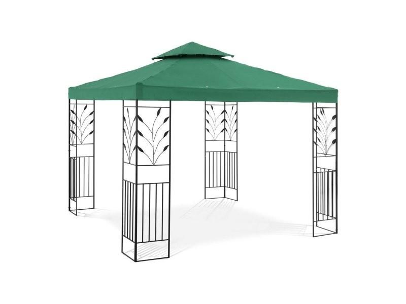 Pergola pavillon barnum tonnelle tente abri gazebo de jardin terrasse beige vert - 3 x 3 m - 180 g/m² helloshop26 14_0002772