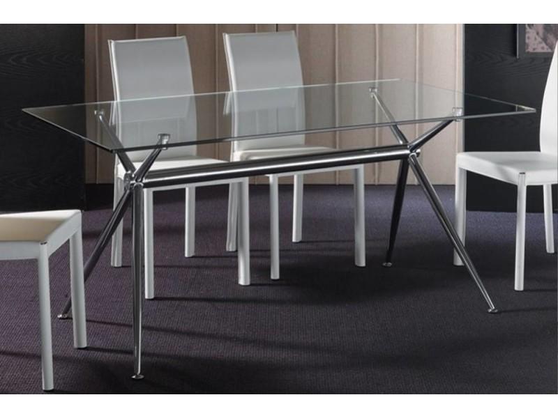 Table repas atene en verre piétement acier chromé 20100850567