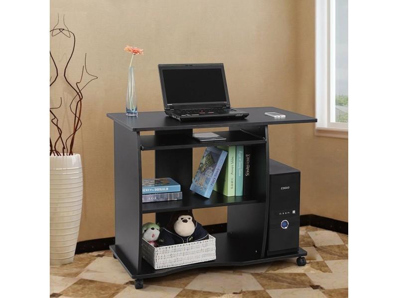 Superbe bureau informatique sur roulettes avec etagère noir neuf