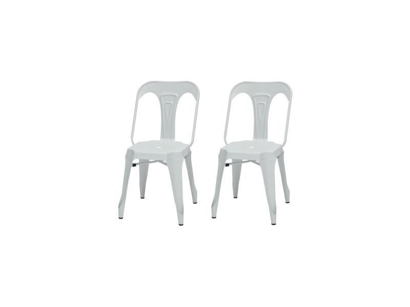Kraft zoeli lot de 2 chaises de salle a manger - métal blanc mat - style industriel - l 44 x p 53 cm