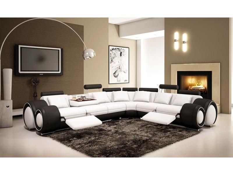 Canapé d'angle cuir blanc et noir + positions relax oslo (droit)-