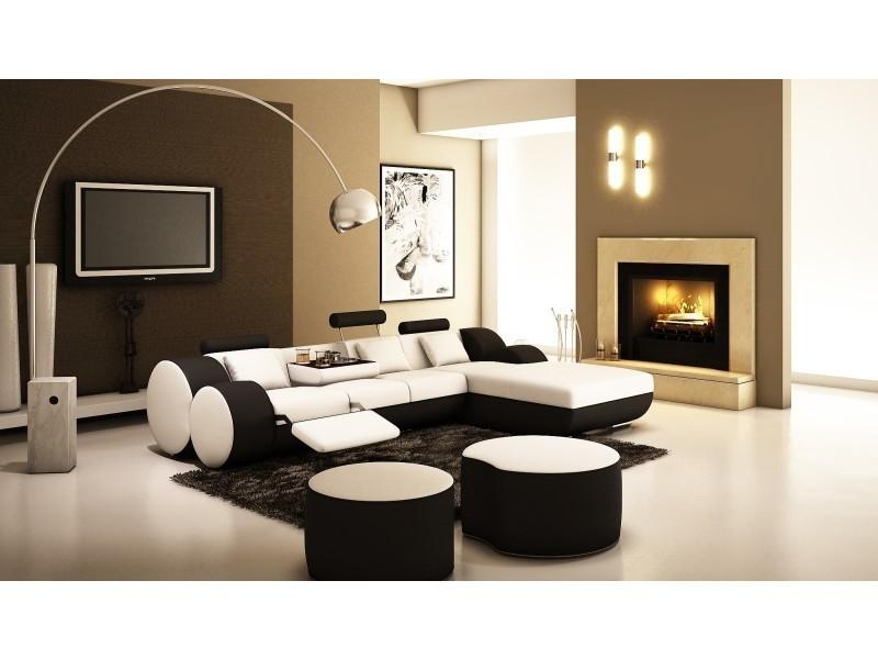 Canapé d'angle relax cuir blanc et noir rima-