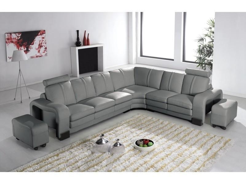 Canapé d'angle en cuir gris avec appuie tête relax havane (angle droite)-