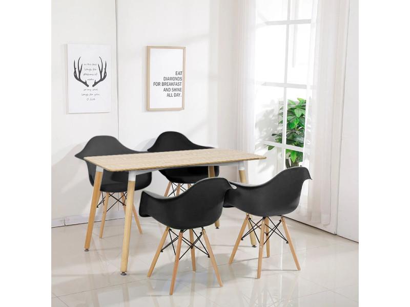 Hombuy® ensemble de table à manger rectangulaire couleur bois et 4 chaises de salle à manger avec fauteuil design scandinave noires