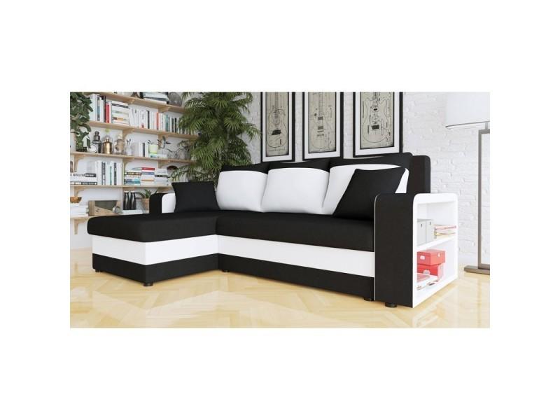 Canapé d'angle convertible fino noir et blanc - réversible
