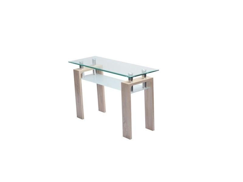 Table, console d'entrée en verre et bois amalfi. Look moderne et design.