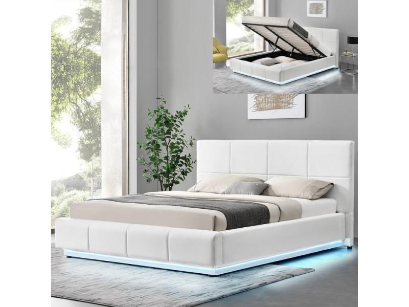 Lit Design Alexi Avec Sommier Et Coffre De Rangement Blanc 180x200 Vente De Lit Adulte Conforama