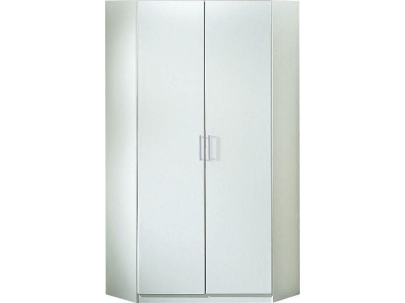 Armoire d\'angle 94 x 197 cm avec 2 portes coloris blanc p-7463-co ...