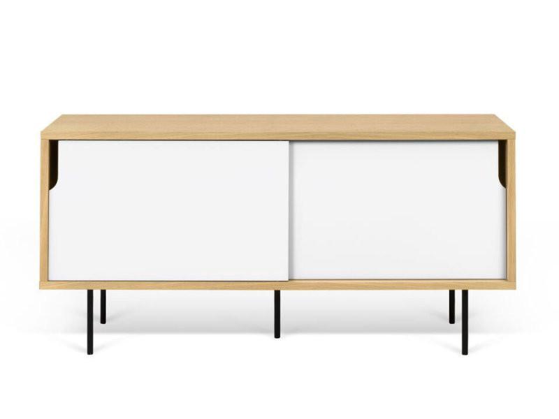 Meuble tv en bois avec 2 portes coulissantes dann blanc