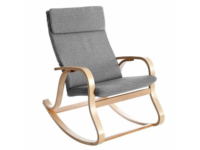 Fauteuil à bascule, fauteuil berçant en bois de bouleau, rembourrage en mousse, revêtement en imitation lin, anthracite lyy30gy songmics Charge max 120 kg, 90 x 65 x 98 cm