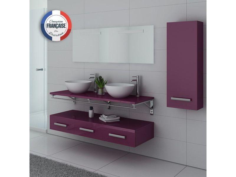 Meuble de salle de bain double vasque aubergine virtuose - Meuble vasque salle de bain conforama ...