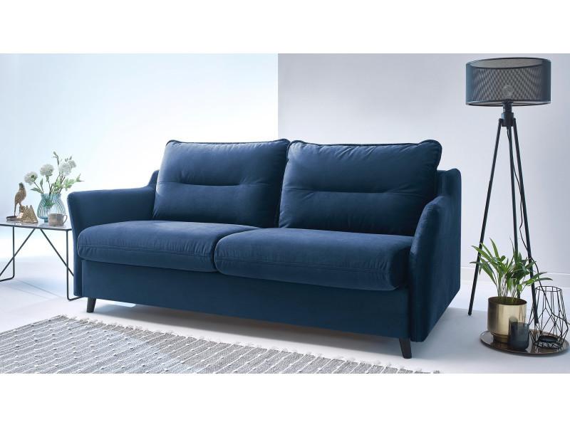 Canapé droit convertible ouverture express loft bleu marine