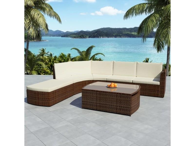 Inedit meubles de jardin gamme lima mobilier de jardin 15 pcs marron résine tressée