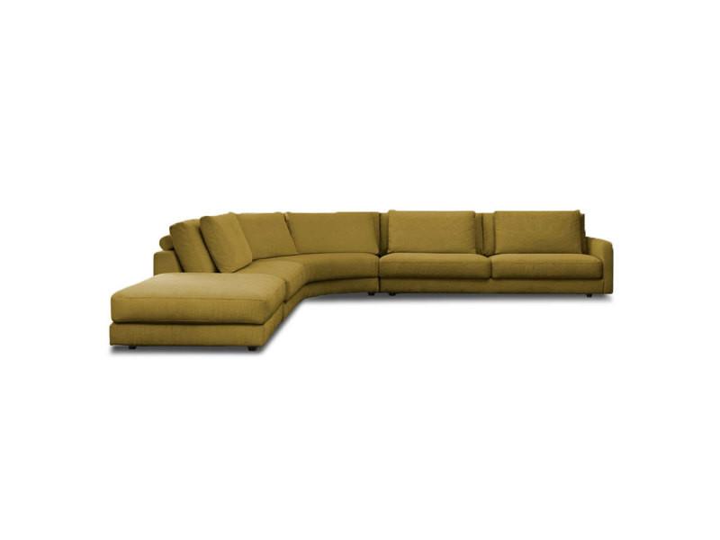 Canapé panoramique tissu angle gauche jaune venezia - 5 places