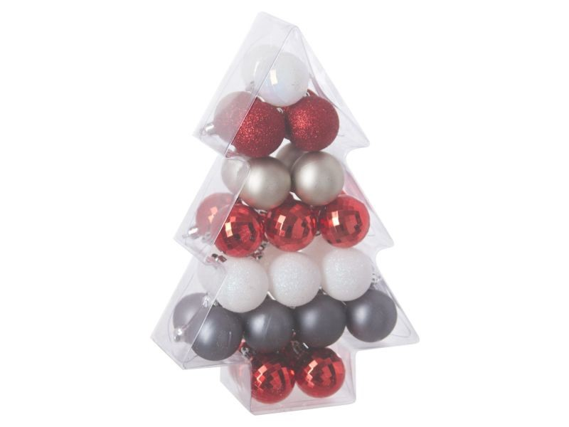 Belle Kit déco pour sapin de noël - 34 pièces - rouge, blanc et argent QA-88