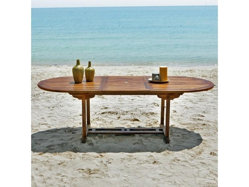 Table de jardin en bois de teck avec rallonge 8 à 10 places - Vente ...
