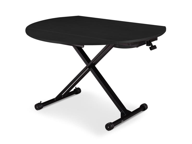 Table basse relevable et extensible sharo noir mat vente - Table basse relevable extensible conforama ...